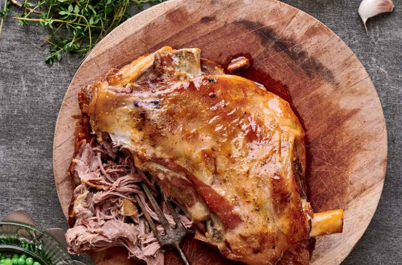 Roast Shoulder of Lamb with baby greens